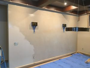Color-wash custom paint treatment bare wall